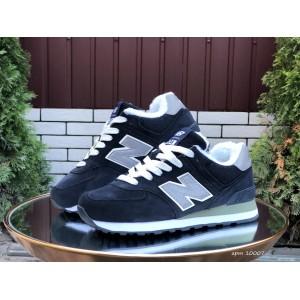 Зимние подростковые кроссовки New Balance 574,замшевые,темно синие с серым