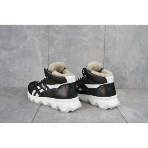 Ботинки женские CrosSAV 50 черные-белые (натуральная кожа, зима)