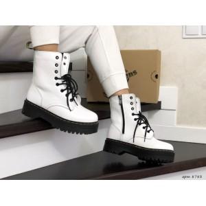 Женские зимние ботинки Dr. Martens,кожаные,белые