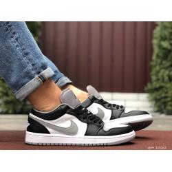 Мужские демисезонные кроссовки Nike Air Jordan 1 Retro,белые с черным/серым