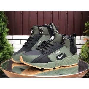 Мужские зимние кроссовки Nike Huarache,зеленые с черным
