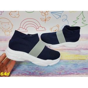 Детские кроссовки слипоны легкие дышащие с серой резинкой синие