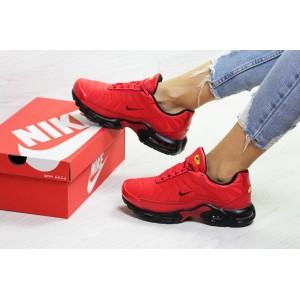 Подростковые зимние кроссовки Nike air max TN, красные 39р