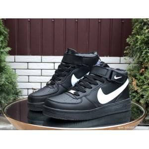 Высокие зимние женские,подростковые, кроссовки Nike Air Force,черные с белым