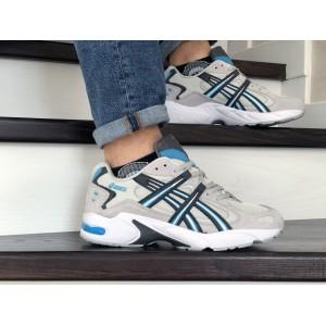 Мужские кроссовки Asics,замшевые,бежевые с голубым