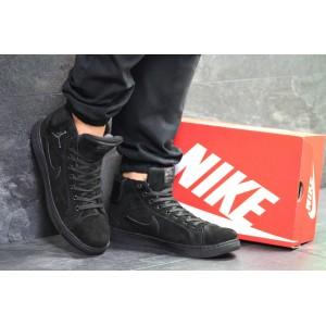 Зимние замшевые кроссовки Nike Air Jordan 1 Retro,черные