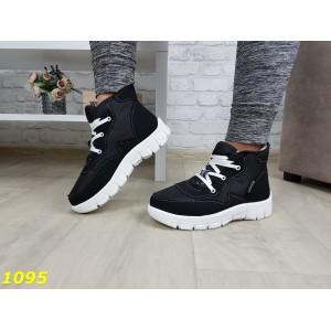 Дутики ботинки зимние на густом меху черные