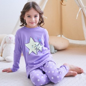 Пижама для девочки Звёзды (люминесцентная) Baobaby