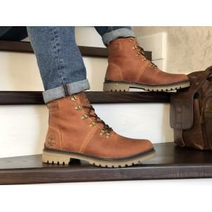 Мужские зимние кожаные ботинки Timberland,Тимберленд,на меху,рыжие