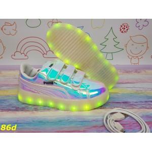 Детские кроссовки Пума светящиеся с подсветкой Led подростковые 31-36р