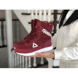 Высокие женские зимние ботинки Reebok,бордовые