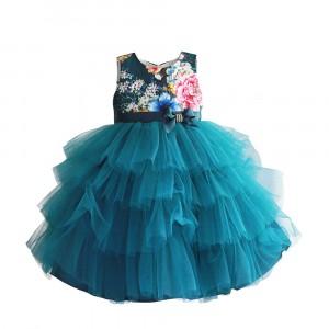 Платье для девочки Цветочные бутоны, сине-зеленый Zoe Flower