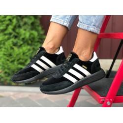 Женские (подростковые) кроссовки Adidas Iniki,черные с белым
