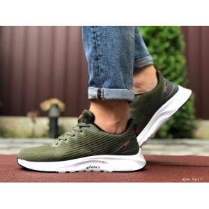 Мужские летние кроссовки Asics,сетка,темно зеленые