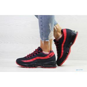 Подростковые зимние кроссовки Nike 95,темно синие с красным 38р